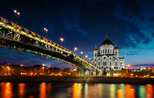 Picture sunset, lights, reflection, river, Moscow, Russia, The Cathedral Of Christ The Savior, The Patriarchal bridge, …