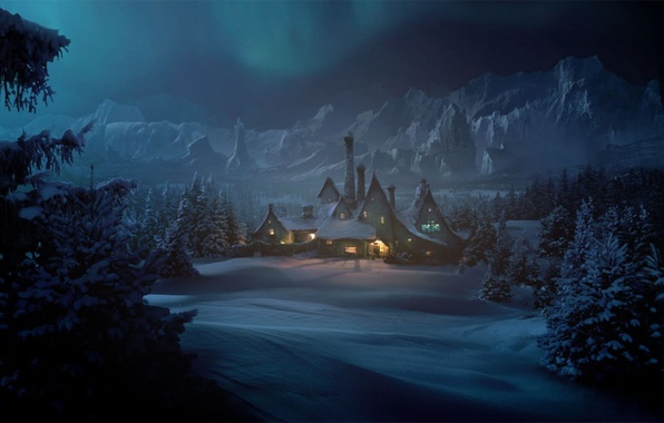 Picture snow, trees, mountains, lights, house, Winter