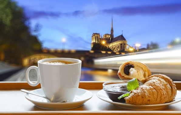 Picture Paris, coffee, Breakfast, Paris, cathedral, France, Our Lady, cup, jam, coffee, growing, breakfast, croissant