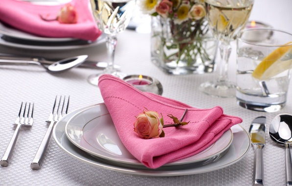 Picture flower, table, rose, candle, glasses, plates, glasses, knives, napkin, fork, serving, Cutlery