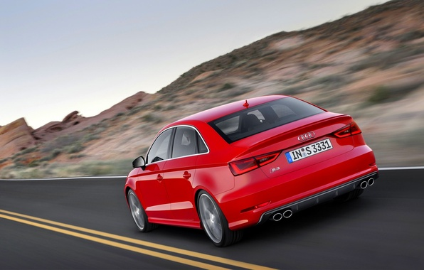 Picture Audi, Red, Auto, Road, Strip, Machine, Sedan