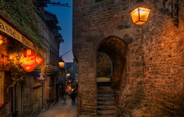Picture lights, portal, night, France, evening, street, people, houses, signs, street lights, lamps, stairs, arch, Mont …