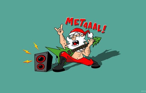 Picture Design, Music, Guitar, Humor, New Year, Hair, Shadow, Santa, Tree, The inscription, Metal, Beard, Santa …