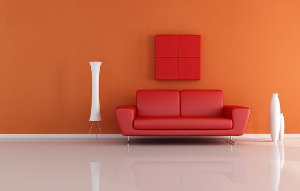 Picture design, sofa, interior, minimalism, vases