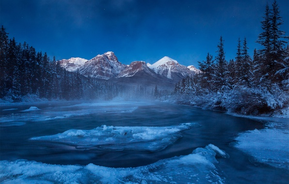 Picture winter, forest, snow, mountains, night, river, ice, Canada, Albert