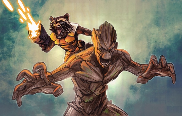 Wallpaper Rocket Raccoon Groot Guardians Of The Galaxy Images For Desktop Section