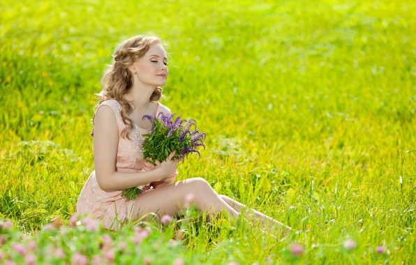 Picture field, grass, girl, flowers, bouquet, blonde
