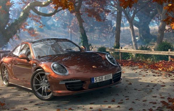 Picture road, machine, autumn, leaves, trees, art, Cayman, Porsche, Porshe
