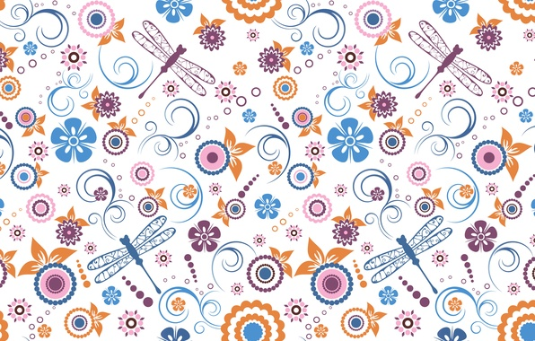 Picture flowers, pattern, wings, dragonfly