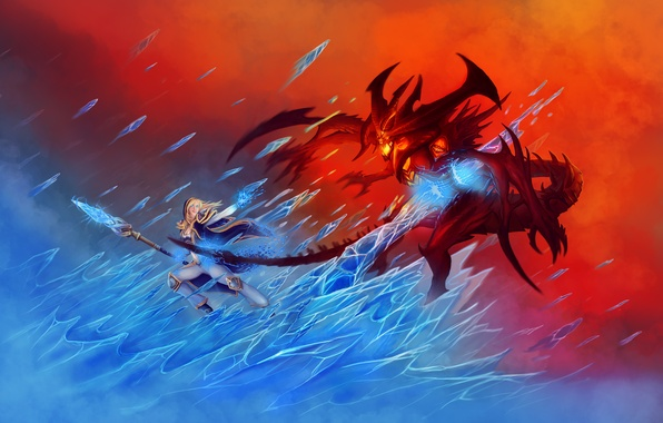 Picture ice, fire, the demon, MAG, World of Warcraft, fantasy, Warcraft, blizzard, diablo, wow, Jaina Proudmoore, …
