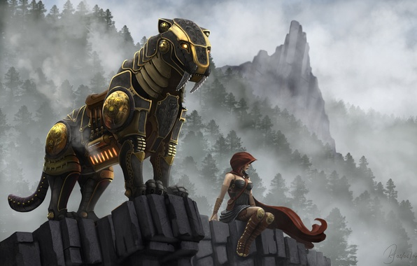 Picture machine, girl, rock, fiction, robot, art, fangs, beast, saber-toothed tiger