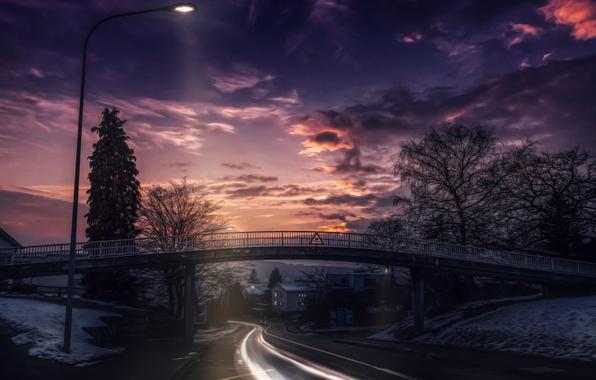 Picture road, the sky, clouds, landscape, sunset, bridge, nature
