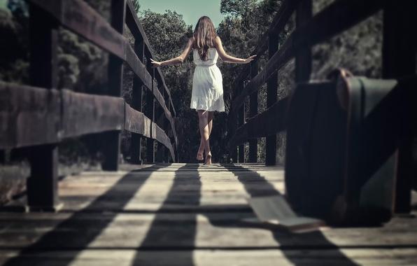 Picture girl, bridge, dress, suitcase, bokeh, barefoot