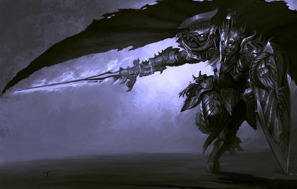 Picture movement, sword, warrior, art, running, shield, cloak, armor