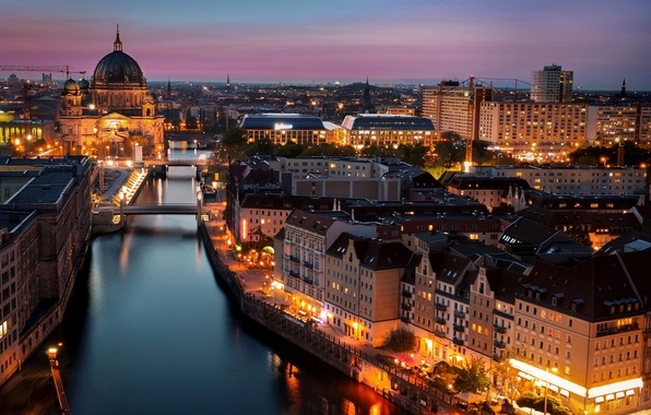 Picture light, the city, lights, river, building, home, the evening, Germany, lighting, lights, Church, architecture, bridges, ...
