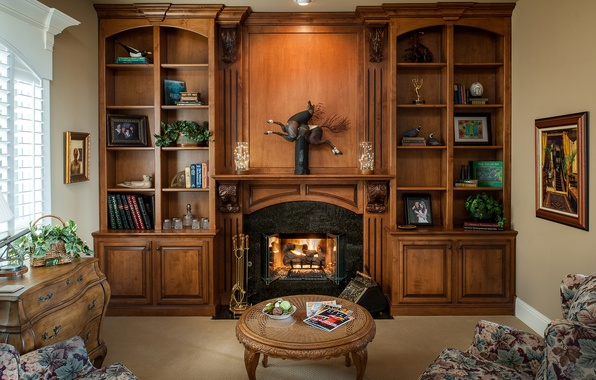 Picture furniture, books, fireplace, office, table, decor