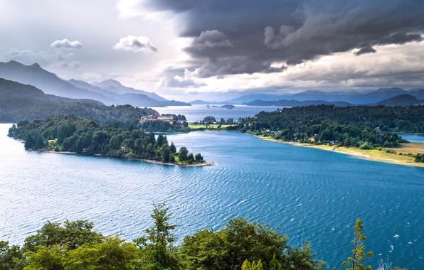 Picture mountains, lake, panorama, forest, Argentina, Argentina, Patagonia, Patagonia, lake Nahuel Huapi, Nahuel Huapi Lake