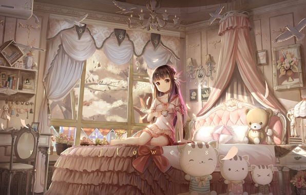 Picture girl, trees, smile, room, toys, bed, anime, Sakura, art, red flowers