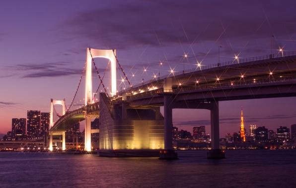 Picture the sky, clouds, night, bridge, lights, building, home, Japan, lighting, Tokyo, lights, Bay, Tokyo, Japan, …