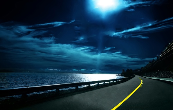 Picture road, the sky, water, night, clouds, the way, markup, dal, horizon