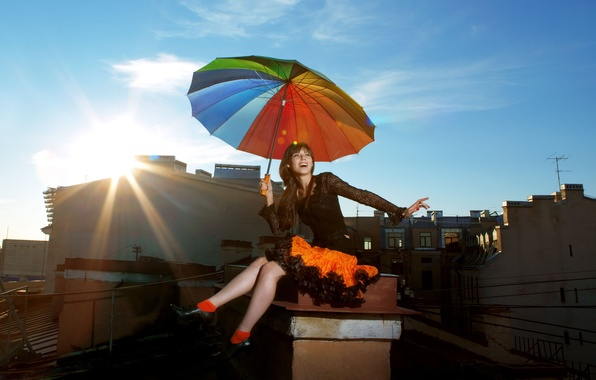 Picture girl, the sun, the city, smile, umbrella, background, widescreen, Wallpaper, mood, surprise, positive, umbrella, brunette, …