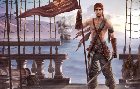 Picture sea, weapons, ship, sailboat, art, pirate, banner, saber