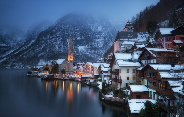 Picture winter, snow, mountains, the city, lights, lake, shore, home, Austria, Alps, haze, Salzkammergut, Hallstatt, municipality