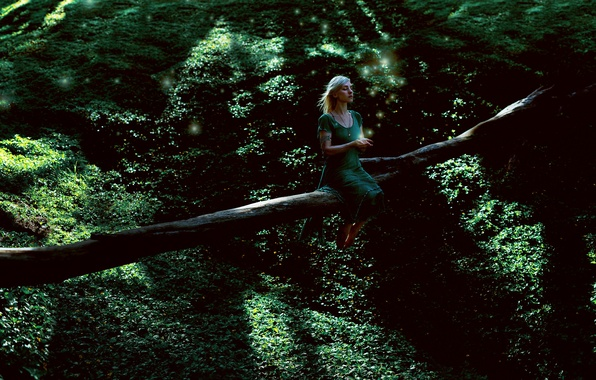 Picture greens, forest, girl, tree, dress, sometimes