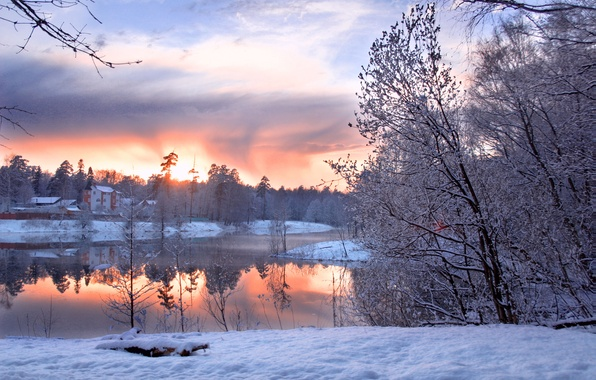 Picture cold, winter, forest, the sky, clouds, snow, trees, landscape, pond, lights, shore, horizon, houses, Winter …