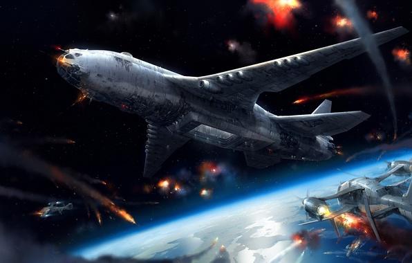 Picture the plane, planet, ships, art, battle, Jae Cheol Park, cocoms