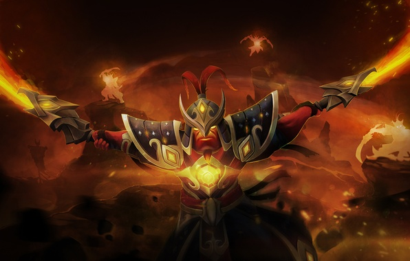 Picture weapons, fire, warrior, art, male, swords, Dota 2, Xin, Ember Spirit, qassamzed