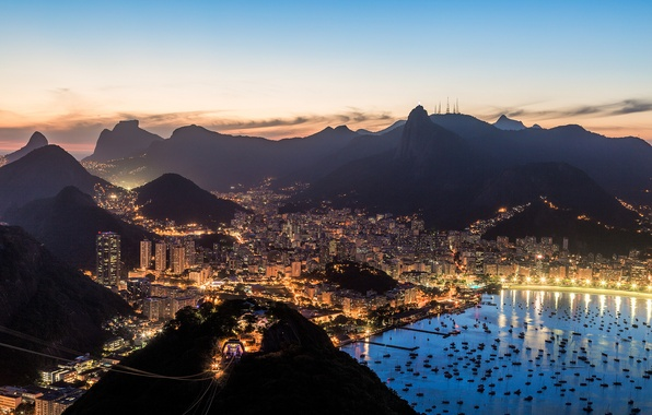 Picture the sky, clouds, sunset, the city, lights, Bay, boats, the evening, Bay, Brazil, Rio de …