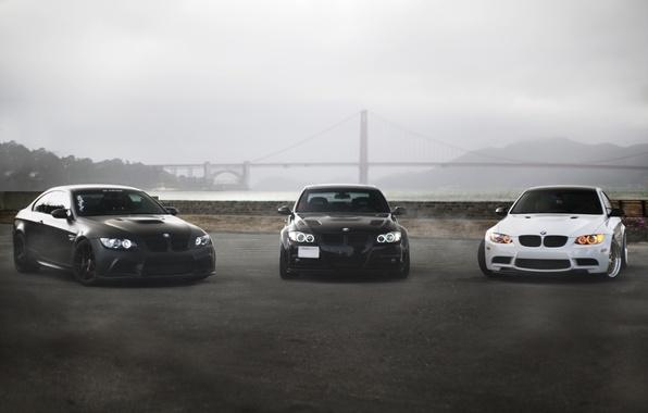 Picture white, bridge, fog, black, bmw, BMW, coupe, white, sedan, black, front view, bridge, e92, e90, …
