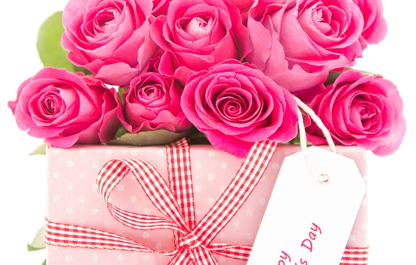 Picture flowers, holiday, gift, roses, bow, box
