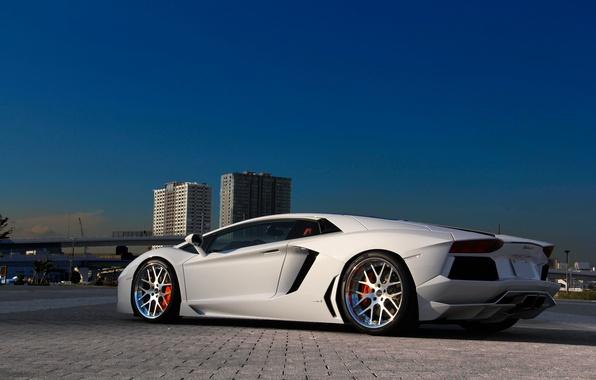 Picture white, the sky, building, white, lamborghini, side view, aventador, lp700-4, Lamborghini, aventador