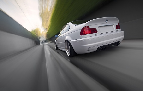 Picture white, bmw, BMW, speed, blur, white, rear view, speed, e46