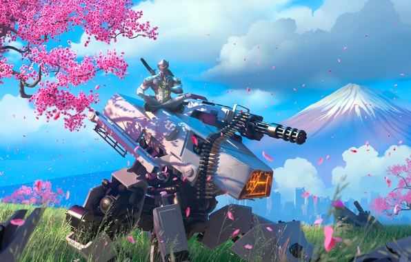 Picture tree, robot, mountain, sword, katana, Sakura, warrior, mask, tank, armor, ninja, Overwatch, Genji Shimada, genji
