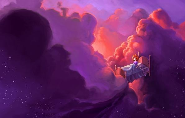 Picture girl, clouds, fantasy, stars, art, flight, redhead