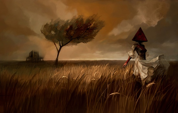 Picture Girl, Field, Tree, Figure, The wind, Dress, Landscape, Pyramidology, Silent Hill, Silent Hill, Pyramid-head