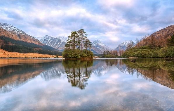 Picture trees, mountains, lake, reflection, Scotland, island, Scotland, Scottish Highlands, Scottish highlands, Glen Etive, lake Lohan-OAI, …
