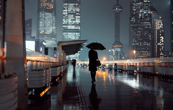Picture girl, lights, street, umbrellas, Shanghai, Oriental Pearl Shanghai, Shanghai tower