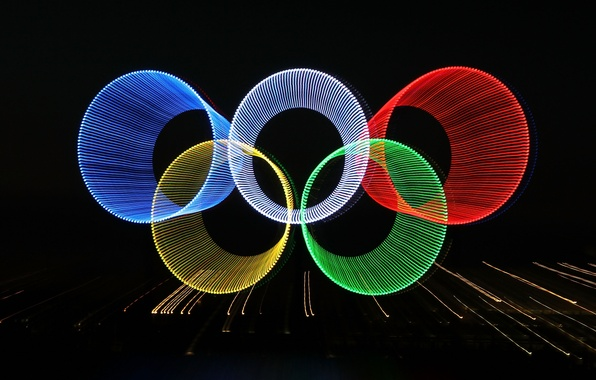 Picture rays, abstraction, lights, ring, Olympics