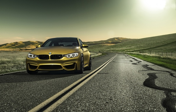 Picture road, yellow, markup, bmw, BMW, yellow, the front, running lights, f82