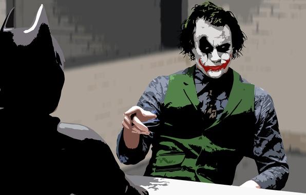 Picture Batman, Joker, the dark knight, Heath Ledger, Christian bale