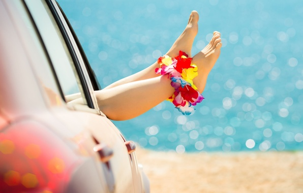 Picture sand, car, machine, flower, girl, joy, flowers, background, widescreen, Wallpaper, feet, mood, blur, beautiful, wallpaper, …