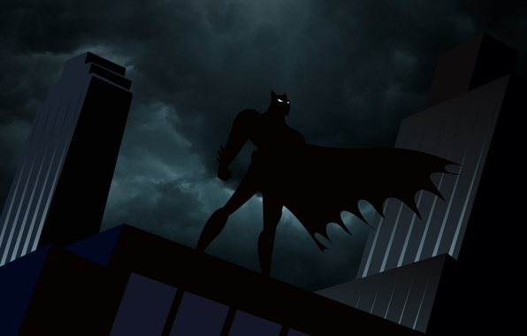 Picture the sky, clouds, night, clouds, batman, Batman, figure, building, Batman, silhouette, cloak, comics