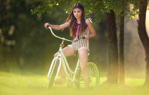 Picture trees, bike, girl, bokeh