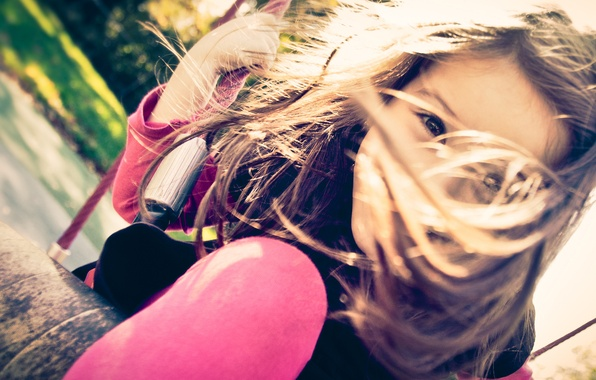 Picture joy, happiness, children, childhood, face, swing, mood, the wind, stay, street, feet, hair, girls, child, …
