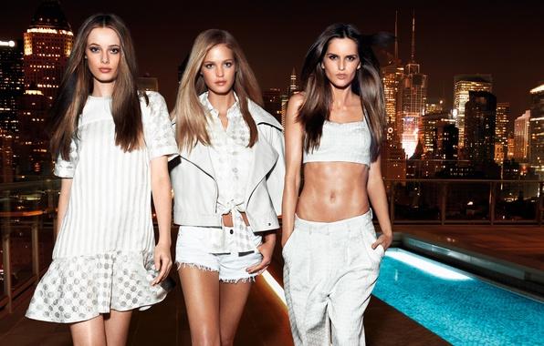 Picture night, the city, lights, girls, clothing, white, model, Erin Heatherton, Erin Heatherton, Izabel Goulart, Thairine …