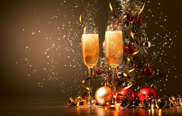 Picture balls, glasses, drink, tinsel, champagne, bells, Christmas decorations